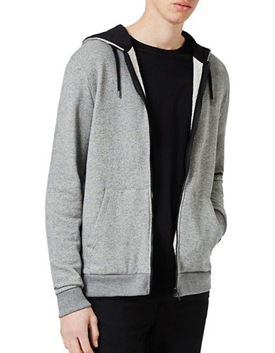 Topman Salt and Pepper Classic Fit Zip Through Hoodie-GREY-X-Large 88974783_GREY_X-Large