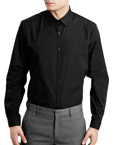 Topman Solid Slim Fit Sport Shirt-BLACK-Small