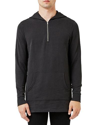 Topman Half-Zip Hoodie-BLACK-X-Large 88606173_BLACK_X-Large