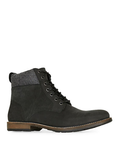 Topman Cuffed Nubuck Leather Boots-BLACK-43