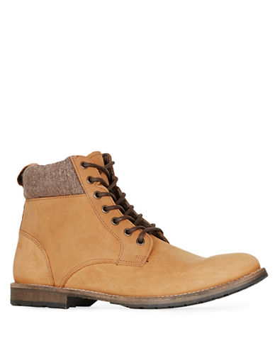 Topman Cuffed Nubuck Leather Boots-BROWN-44