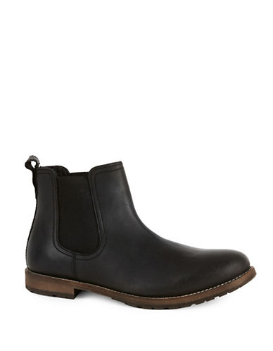 Topman Salute Leather Chelsea Boots-BLACK-EU 43/US 10