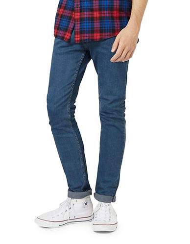 Topman Marty Stretch Skinny Jeans-BLUE-28 Short