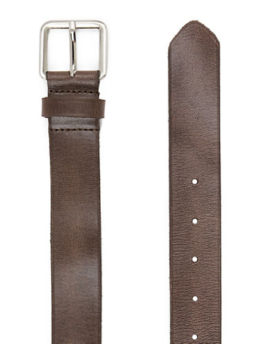 Topman Textured Leather Belt-DARK BROWN-X-Small