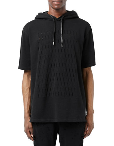 Topman AAA Black Slashed Oversized Hoodie-BLACK-X-Large 88599263_BLACK_X-Large