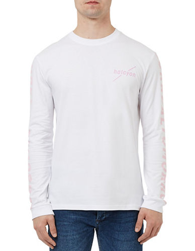 Topman Halycon Printed Long Sleeve Top-WHITE-X-Small 88506251_WHITE_X-Small