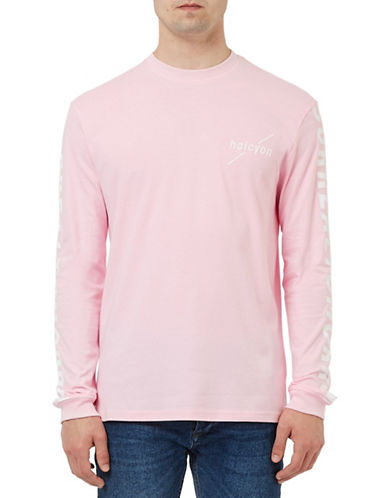 Topman Halycon Printed Long Sleeve Top-PINK-Small 88506246_PINK_Small