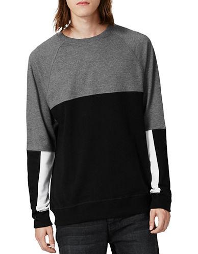 Topman Mesh Panelled Sweatshirt-BLACK-Large 88797380_BLACK_Large