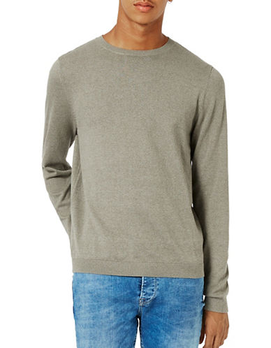 Topman Twist Crew Neck Sweater-KHAKI/OLIVE-Medium 88797397_KHAKI/OLIVE_Medium