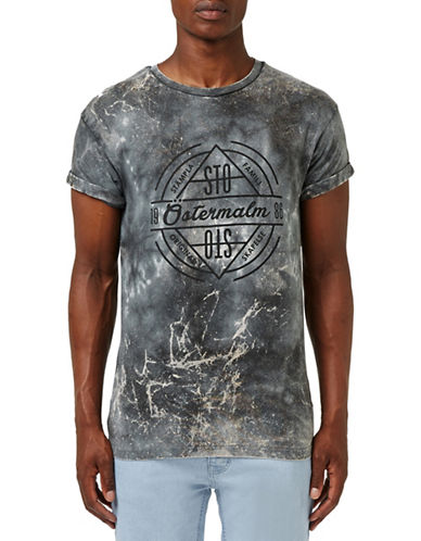 Topman Black Crackle Roller T-Shirt-BLACK-X-Small 88686361_BLACK_X-Small