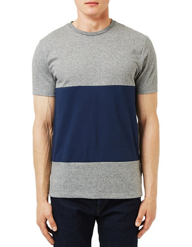 Topman Grey and Navy Salt and Pepper Panel T-Shirt-GREY-X-Small 88602846_GREY_X-Small