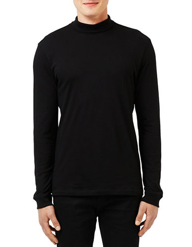 Topman Turtleneck Long-Sleeve Shirt-BLACK-X-Large 88708627_BLACK_X-Large