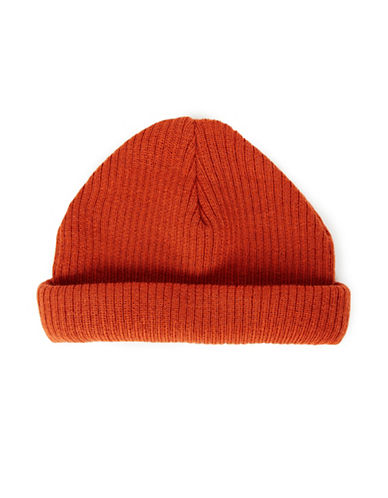 Topman Mini Roll Ribbed Tuque-RED-One Size