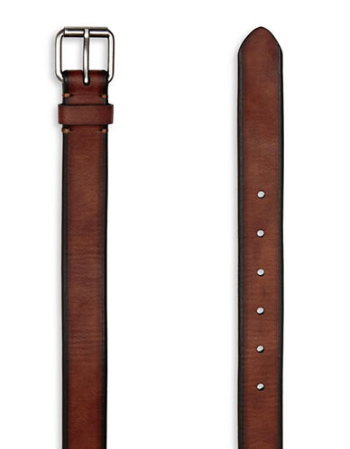 Topman Slim Leather Belt-LIGHT BROWN-Small/Medium