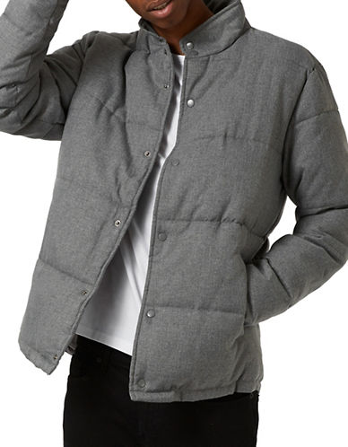 Topman Textured Puffer Jacket-GREY-Small 89016726_GREY_Small