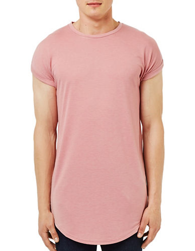 Topman Pink Drop Shoulder Longline T-Shirt-PINK-Small 88606180_PINK_Small