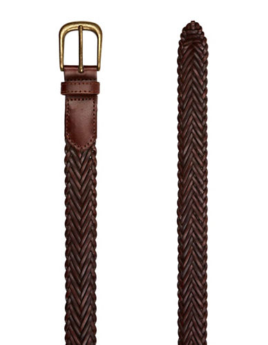 Topman Leather Plait Belt-BROWN-Large/X-Large