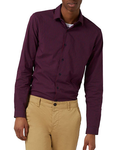 Topman Gingham Stretch Skinny Fit Sport Shirt-BURGUNDY-X-Large