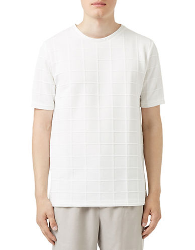Topman LUX White Grid T-Shirt-WHITE-Large 88606231_WHITE_Large