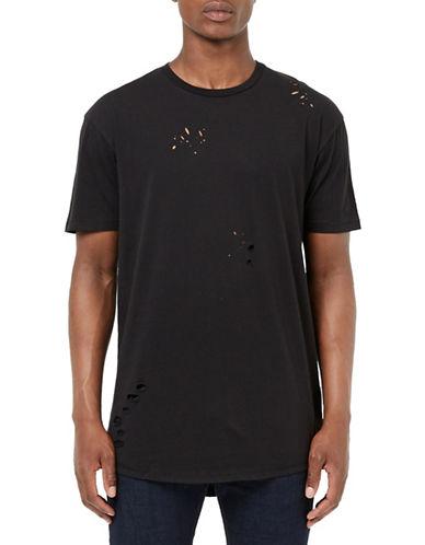 Topman Ripped Longline T-Shirt-BLACK-Large 88637216_BLACK_Large