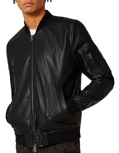 Topman Faux Leather Bomber Jacket-BLACK-Small 89195840_BLACK_Small