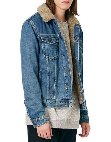 Topman Faux Shearling Collar Denim Jacket-BLUE-Large
