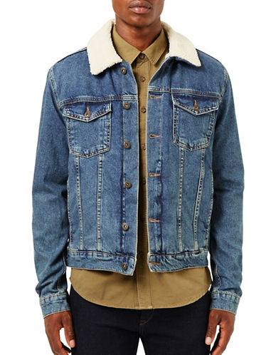 Topman Bryers Borg-Lined Denim Jacket-BLUE-X-Large 88815477_BLUE_X-Large