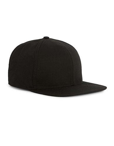 Topman Subtle Check Nylon Snapback Cap-BLACK-One Size