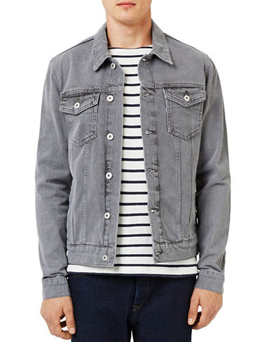 Topman Washed Denim Trucker Jacket-GREY-Large 88678259_GREY_Large
