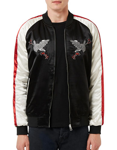 Topman Embroidered Eagle Reversible Souvenir Jacket-BLACK-X-Small 88720340_BLACK_X-Small
