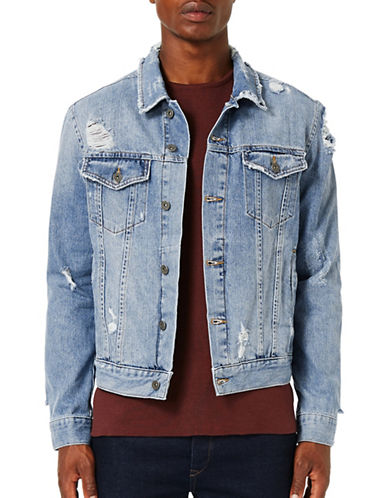 Topman Distressed Denim Jacket-BLUE-X-Large 88756866_BLUE_X-Large