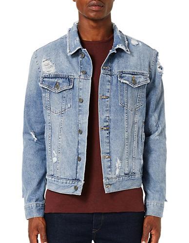 Topman Distressed Denim Jacket-BLUE-Small 88756865_BLUE_Small