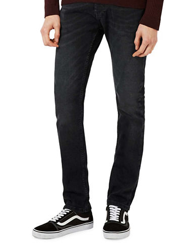 Topman Wash Stretch Slim Jeans-GREY-30 Short
