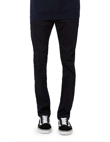 Topman Overdyed Stretch Slim Jeans-NAVY BLUE-28 Short