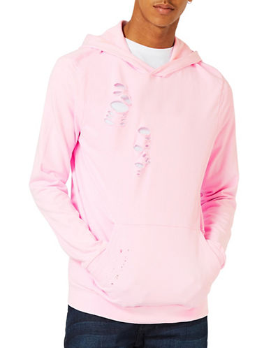 Topman Distressed Fixed Hem Oversized Hoodie-PINK-Small