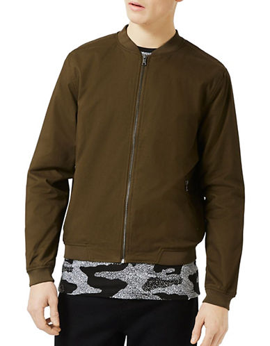Topman Argon Lightweight Cotton Bomber Jacket-KHAKI/OLIVE-Medium