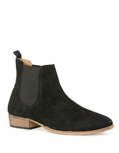 Topman York Chelsea Suede Boots-BLACK-42