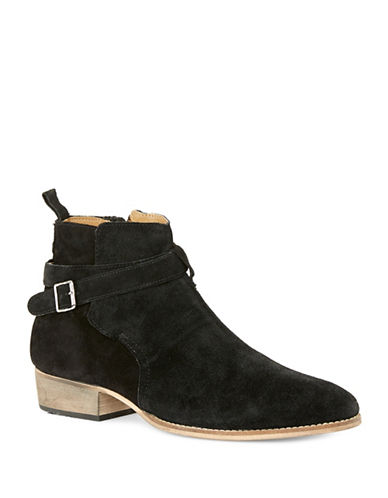 Topman York Buckle Suede Boots-BLACK-41