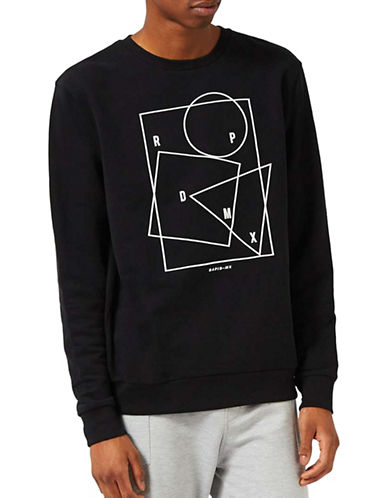 Topman Rapid Print Sweatshirt-BLACK-Medium 88919605_BLACK_Medium