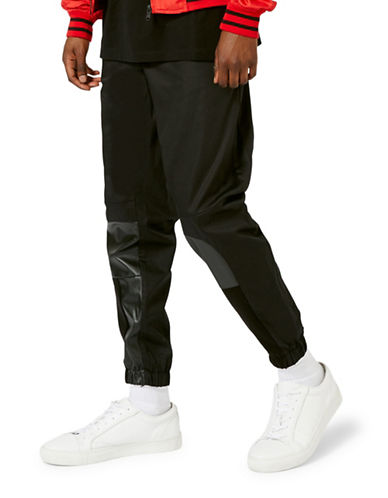 Topman AAA Faux Leather Patch Slim Joggers-BLACK-X-Small 88771261_BLACK_X-Small
