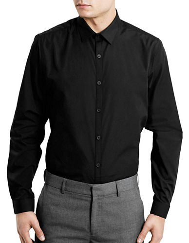 Topman Slim Fit Dress Shirt-BLACK-Small