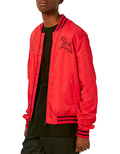 Topman AAA Mind Games Graphic Bomber Jacket-RED-X-Small 88851090_RED_X-Small