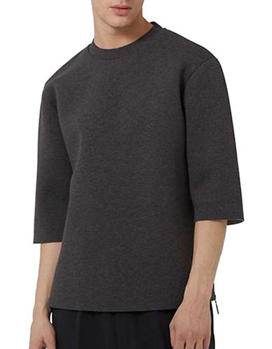Topman LUX Raw Edge Boxy T-Shirt-GREY-X-Small 88894516_GREY_X-Small