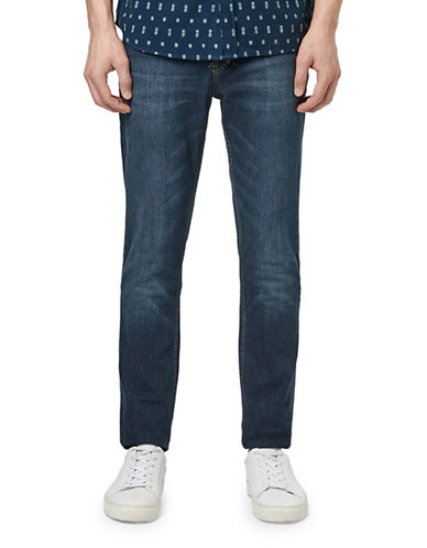 Topman Hendrix Slim Stretch Jeans-DARK BLUE-36 Long