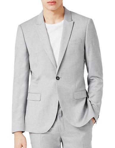 Topman Wyatt Crosshatch Skinny Fit Suit Jacket-LIGHT BLUE-36