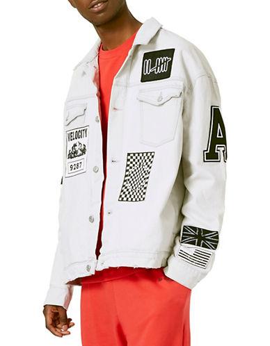 Topman AAA Badged Oversized Denim Jacket-WHITE-X-Large 88771255_WHITE_X-Large