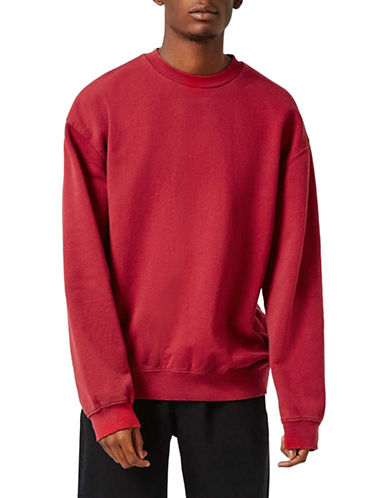 Topman Nico Washed Panelled Oversized Sweatshirt-RED-Large 88957407_RED_Large