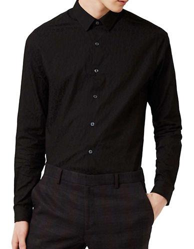 Topman Leopard-Print Jacquard Sport Shirt-BLACK-Large 88957457_BLACK_Large