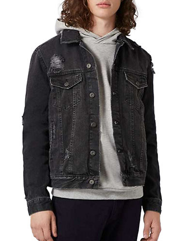 Topman Distressed Denim Jacket-BLACK-X-Large 88869251_BLACK_X-Large