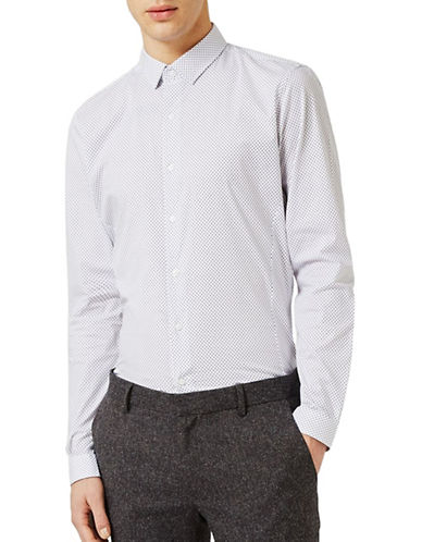 Topman Geo Print Stretch Dress Shirt-WHITE-X-Large